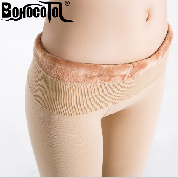 Bohocotol elastic plus velvet women's autumn and winter high waist skin color incarcerators legging trousers thickening step one