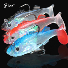 Купить с кэшбэком 1 Piece 3D Eye Lead Fishing Lures with T Tail Soft Fishing Lure Double Hook Baits Artificial Bait Jig Wobblers 15g/8cm 8g/6cm