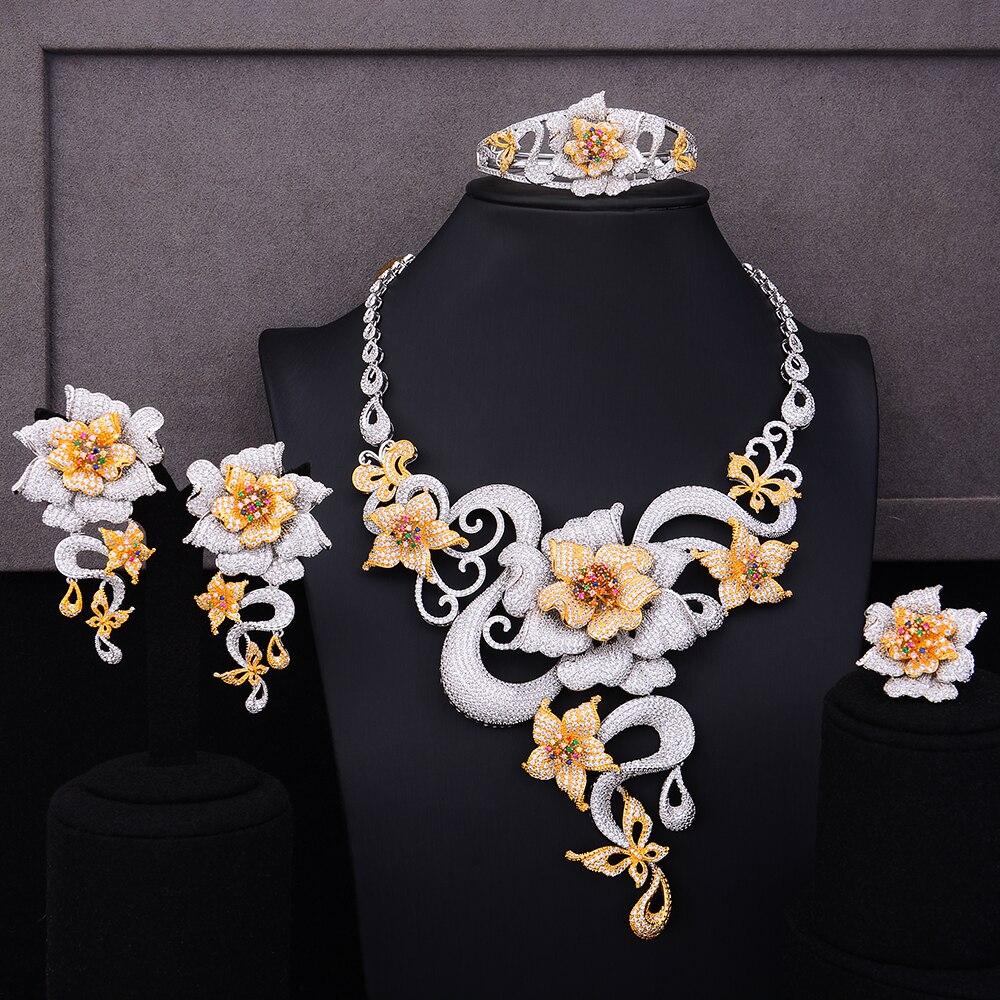 GODKI Luxury Flower Boom 4pcs African Cubic Zircon CZ Nigerian Jewelry sets For Women Wedding Dubai