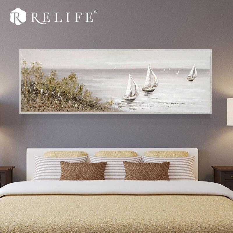 Peintures à l'huile acryliques encadrées par paysage marin de voilier de décoration à la maison moderne pour le mur de salon