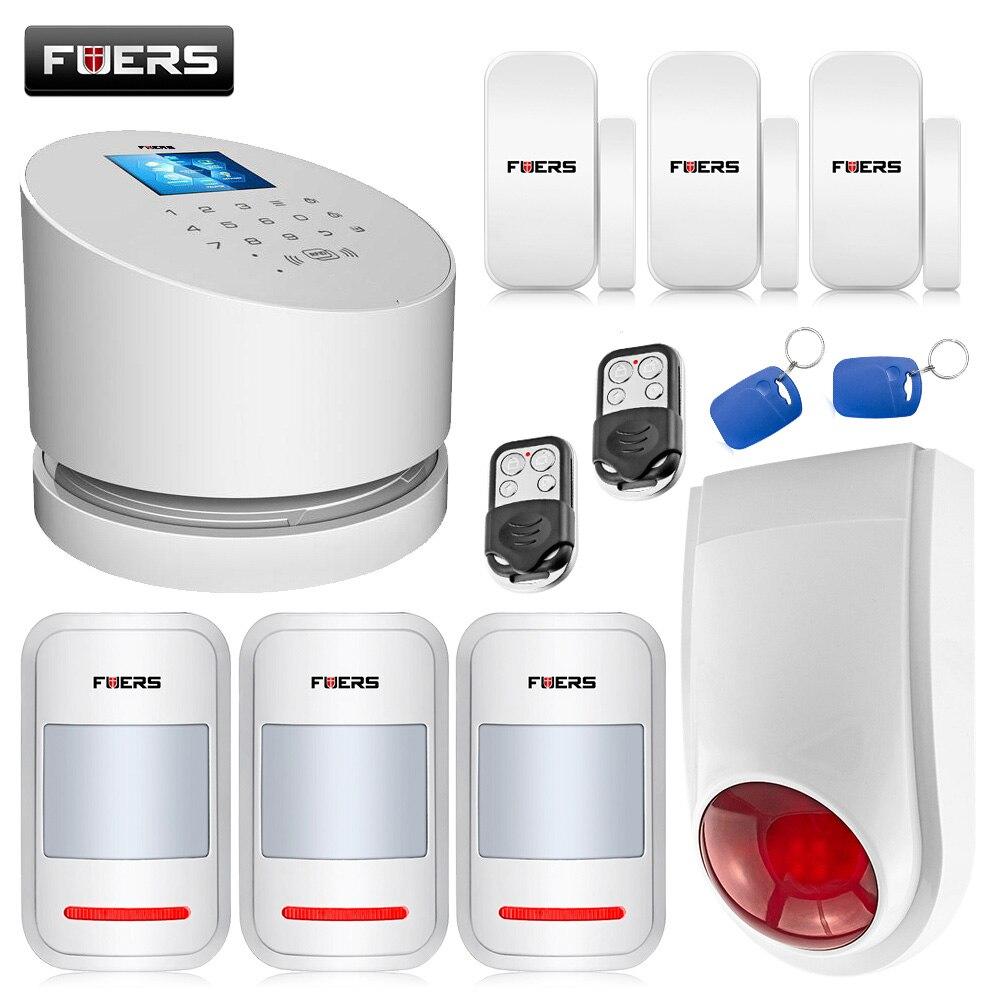 Fuers W2 WIFI Intelligent Alarm KIT Security Alarm System WIFI GSM PSTN Alarm System With Door Alarm IP Camera msd3463gu w2