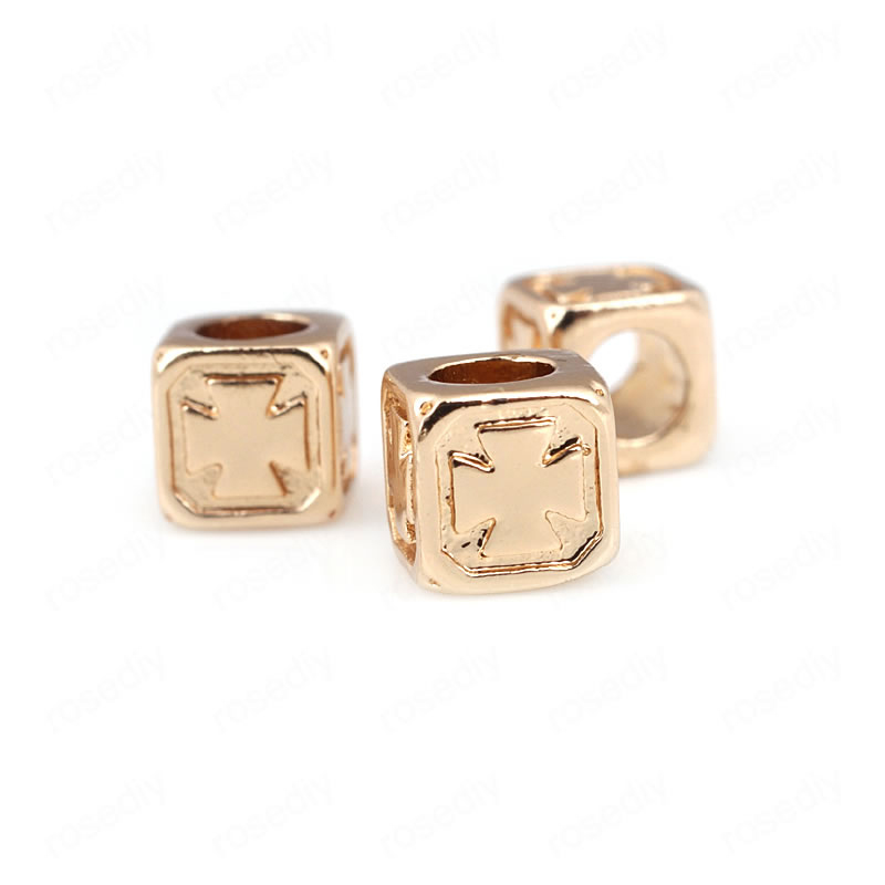 Steady 10pcs 5.5mm Hole 3mm 24k Champagne Gold Color Plated Brass Cube Cross Large Hole Beads Spacer Beads High Quality Accessories Vivid And Great In Style Beads