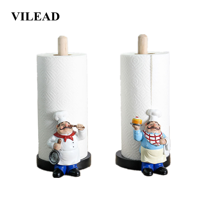 VILEAD 29.5cm Resin Chef Double-Layer Paper Towel Holder Figurines Creative Home Cake Shop Restaurant Crafts Decoration Ornament