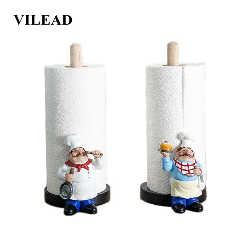 Vilead 29.5cm resina chef dupla-camada suporte de toalha de papel estatuetas criativo casa loja de bolo restaurante artesanato decoração ornamento