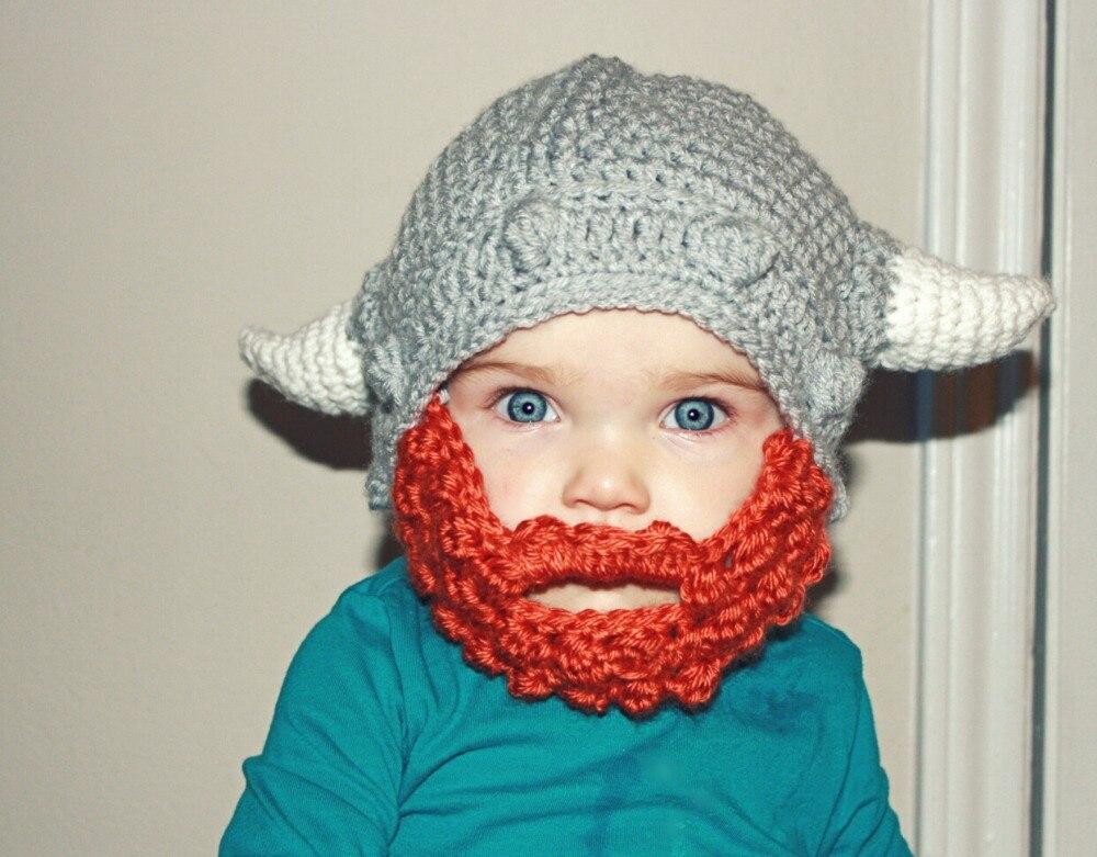 2ef2355a2 Free Shipping Crochet Viking Knight Beard Knitted Hat Newborn Infant ...
