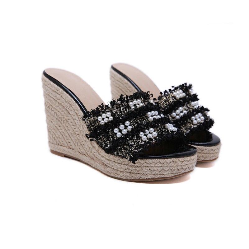 Women's Sandals Shoes Slippers Heel Summer Wedges Black Platform Pearl 12cm