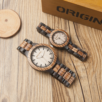 BOBO Zebra Two-tone Quartz Wooden Watch 1