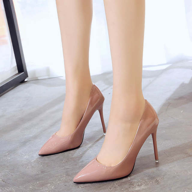 2019 HOT Women Shoes Pointed Toe Pumps Patent Leather Dress  High Heels Boat Shoes Wedding Shoes Zapatos Mujer Blue White 38