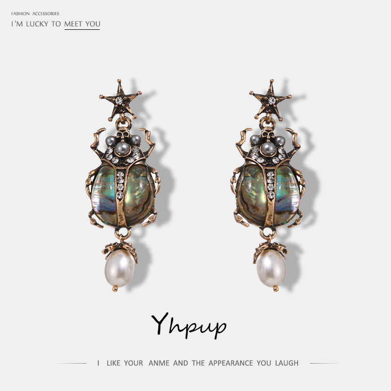 Yhpup Luxury Crystal Charms Dangle Earrings Resin Simulated Pearl Insect Drop Earrings Boucle D'oreille Pendante Femme 2018 Gift