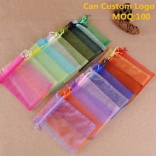 9x12cm Mixed Colors Organza Jewelry Gift Bags Sheer Organza Pouch Promotional Gifts Customized Logo Bags 100pcs/lot