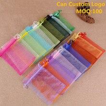 Pochettes pour bijoux Organza transparentes, pochettes cadeaux avec Logo personnalisé, couleurs variées 9x12cm, lot de 100 unités