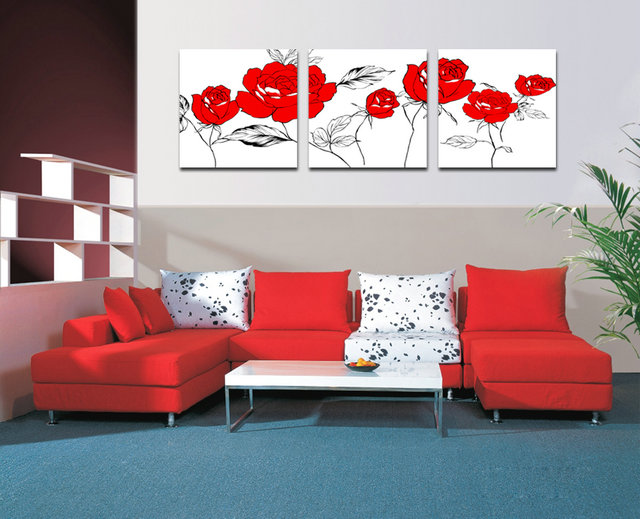 3 Piece Set Of Canvas Painting Red Flowers Canvas Wall Art