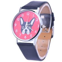 Women Fashion Cute Dog Watch Ladies Leather Band Analog Alloy Quartz Student Gir