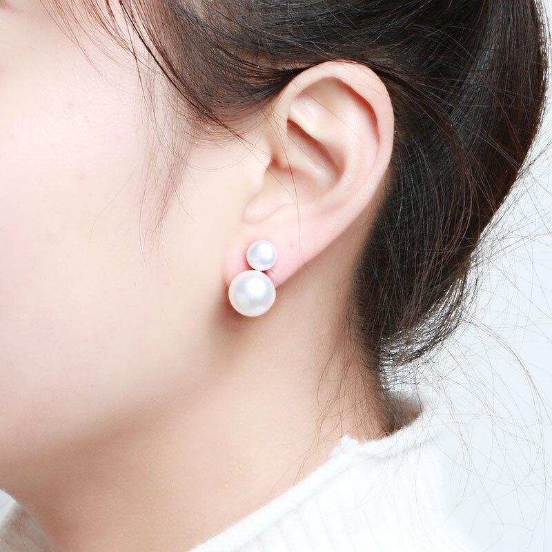 Hongye Freshwater Pearl Earrings Women 925 Sterling Silver Stud Earring Fine jewelry Trendy Double Pearl For Woman Wedding Party