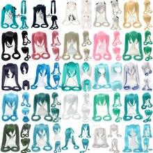 Vocaloid Hatsune парик Мику хвосты Черный Рок Шутер Senbon Zakura косплей парик длинные волосы синий зеленый черный розовый серебряный парик
