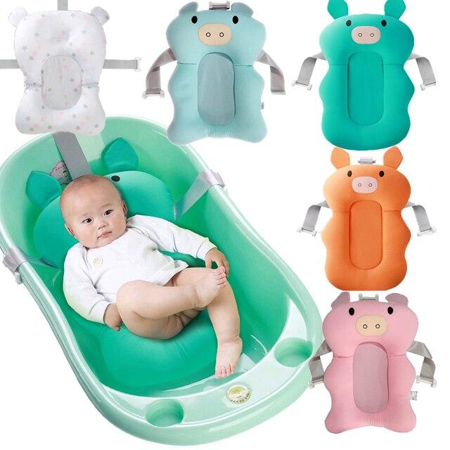 Dos desenhos animados Banheira Chuveiro Banheira Do Bebê Portátil Não-Slip Mat Almofada De Ar com Banho de Segurança De Segurança Recém-nascidos Dobrável Travesseiro Macio assento