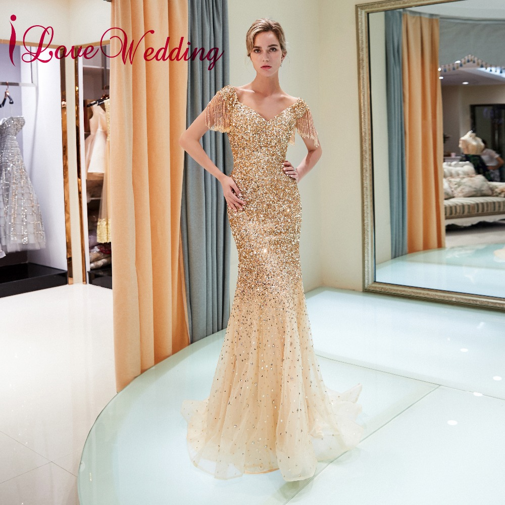 iLoveWedding Amazing   Evening   Gowns Off the Shoulder Tassel Sleeves Gold Sequins Beaded Mermaid Long   Evening     Dresses   2018