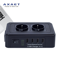 AXAET EHUA Smart Electrical Socket Power Strip EU Plug Extension Switch Adapter 2 Outlet 4 USB Charger 1.8M Power Cord 250V 10A