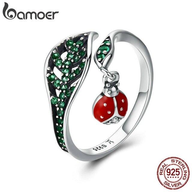 BAMOER 925 Sterling Silver Resting Ladybug Dangle in Tree Leaves Finger Rings fo