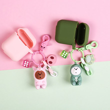Cartoon Silicone Bluetooth Wireless Earphone Case For AirPods Protective Cover for Apple Airpods With Pendant