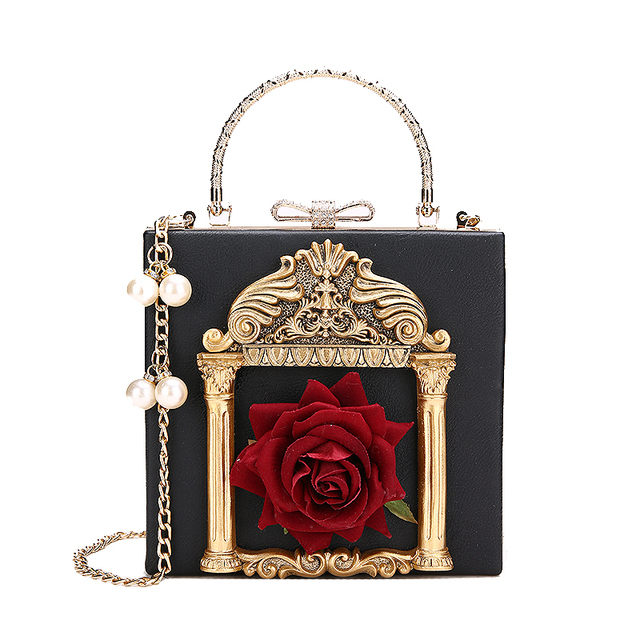 2019 Vintage Embossed Women Handbag Luxury Brand Pearl Chain Box Bag Female Pu Leather Shoulder Bag Diamonds Evening Bags Ladies 1