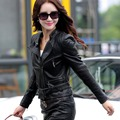 2017 New leather clothing female short design motorcycle female spring and autumn long-sleeve leather coat female