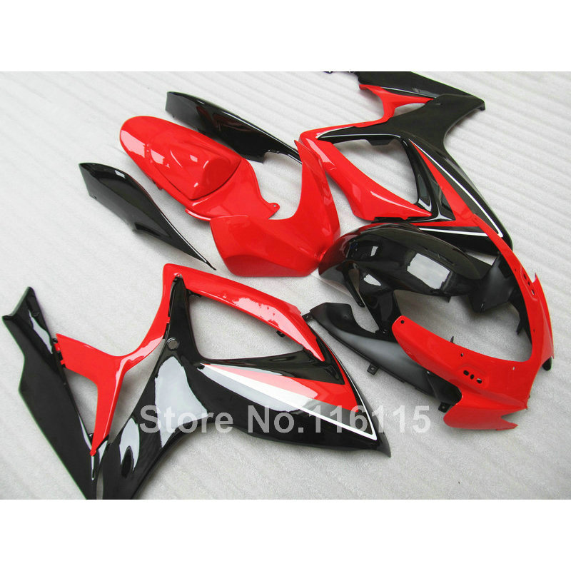 100% NEW <font><b>fairing</b></font> <font><b>kit</b></font> for Suzuki <font><b>GSXR</b></font> <font><b>600</b></font> 750 K6 K7 2006 2007 black red <font><b>fairings</b></font> GSX-R600 GSX-R750 06 <font><b>07</b></font> NG23 image