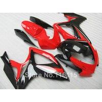 100% NEW fairing kit for Suzuki GSXR 600 750 K6 K7 2006 2007 black red fairings GSX R600 GSX R750 06 07 NG23