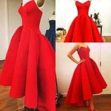 61c090b7926d Robes Nouvelle Chérie A-ligne Puffy Satin Rouge Salut Lo D été Myriam Party  Celebrity Robes Chaude 2019 Magnifique Robe