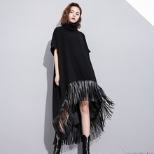 ac16f2598e9 Winter Long Maxi Wool Dress Women New Fashion Loose Leather Fringes  Stitching Woolen Blend Short Sleeve Irregular Dresses 2018