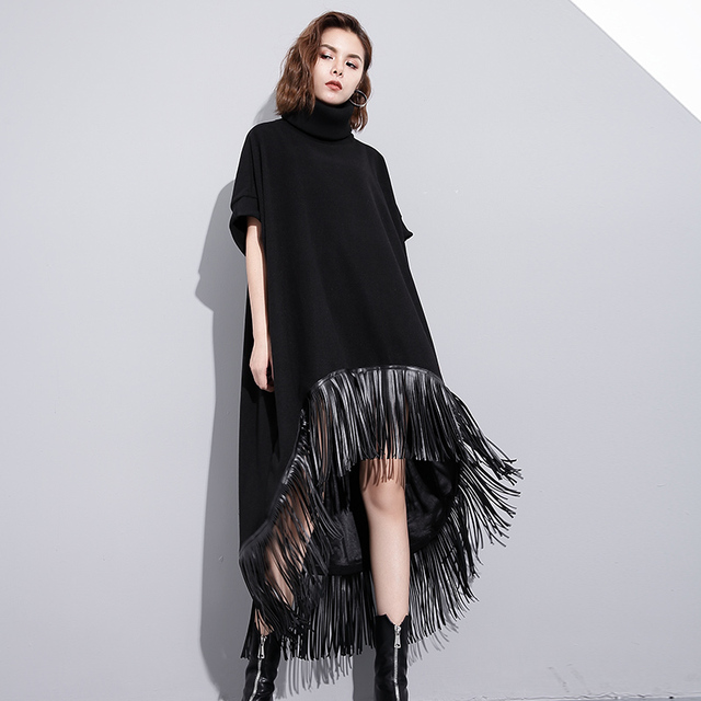 e1200a6faef Winter Long Maxi Wool Dress Women New Fashion Loose Leather Fringes  Stitching Woolen Blend Short Sleeve