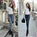 Spring Autumn ladies fashion vintage denim pencil pants mid waist full length slim fit elastic casual jeans trousers for women