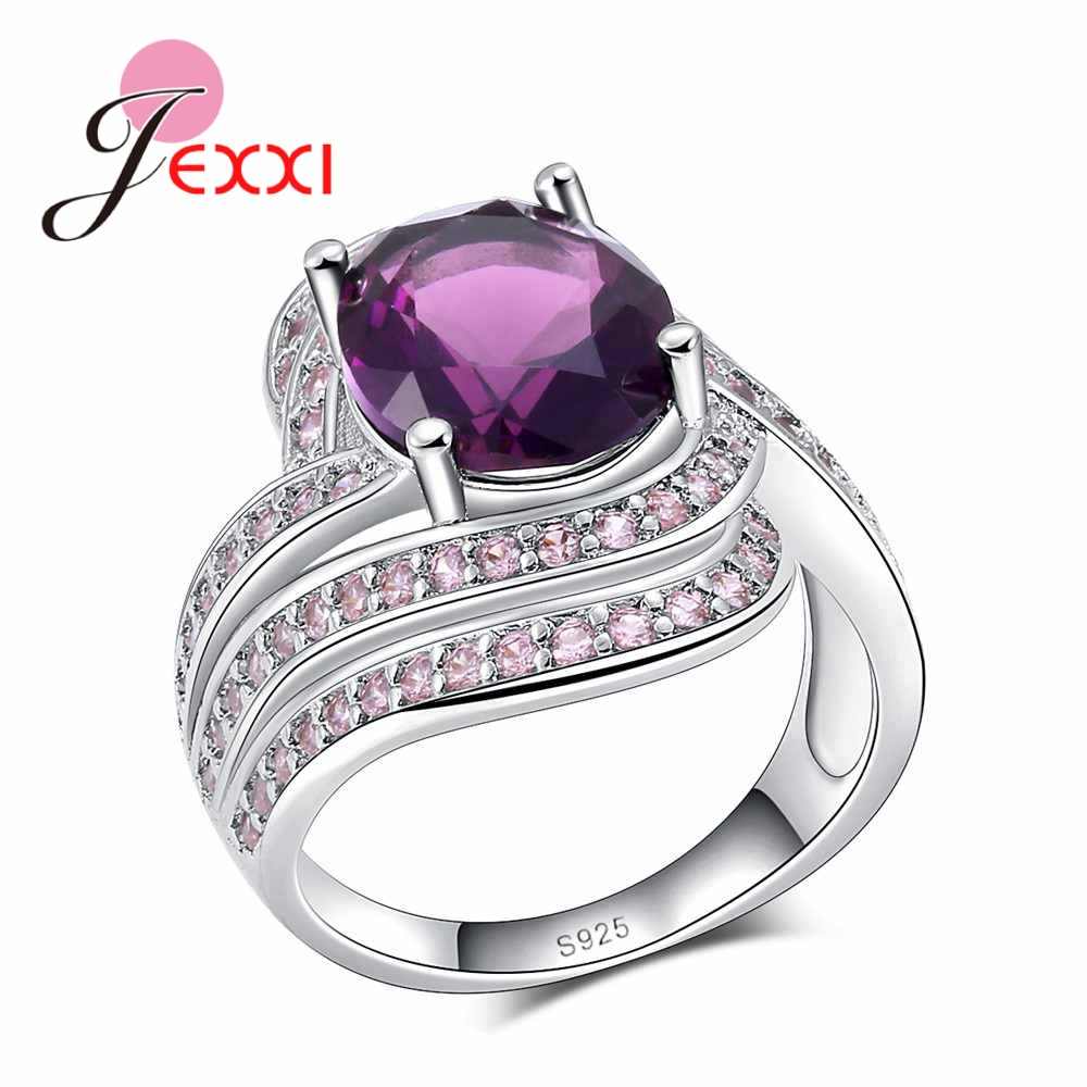 JEXXI Top Quality 925 Sterling Silver Engagement Rings Fashion Hollow Band Round Purple Crystal Bague for Women Female Anel