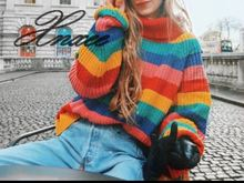 Xnxee 2019 European and American new womens color striped knit pullover