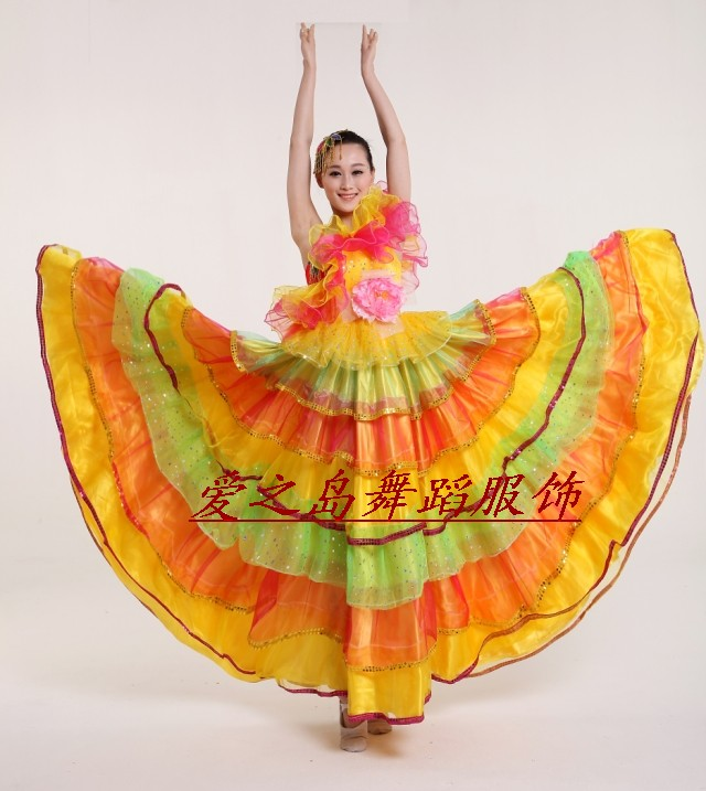 women dance performance  costumes big opening dance  Spanish dance performance clothing