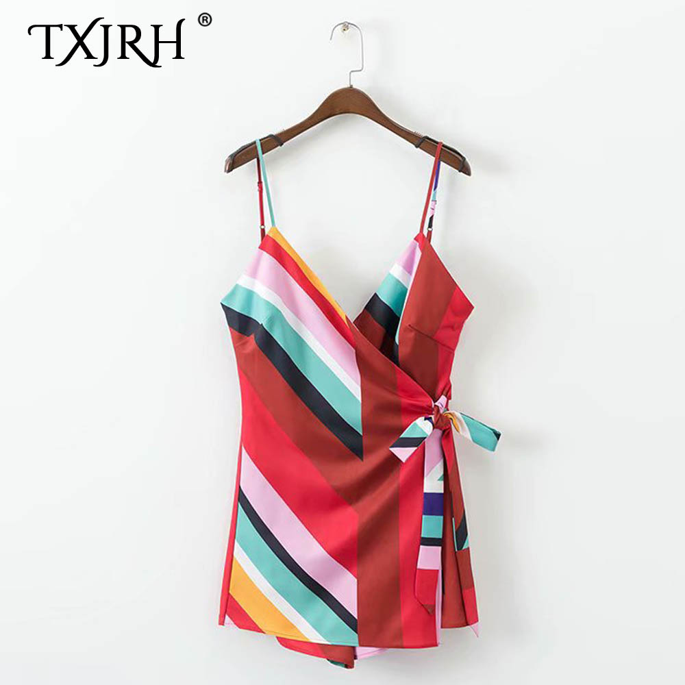 TXJRH Sexy Contrast color Striped Spaghetti Strap Jumpsuit Summer Lady Backless Cross V-Neck Bow Tie Short Pants Romper Overalls