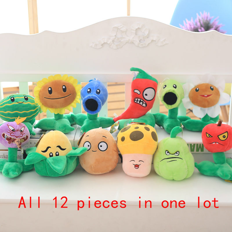 12 Pieces In One Plants vs Zombies Plush Toys 18-22 cm Plants Camp Stuffed Soft Toys Doll Baby Toy for Kids Gifts Party Toy