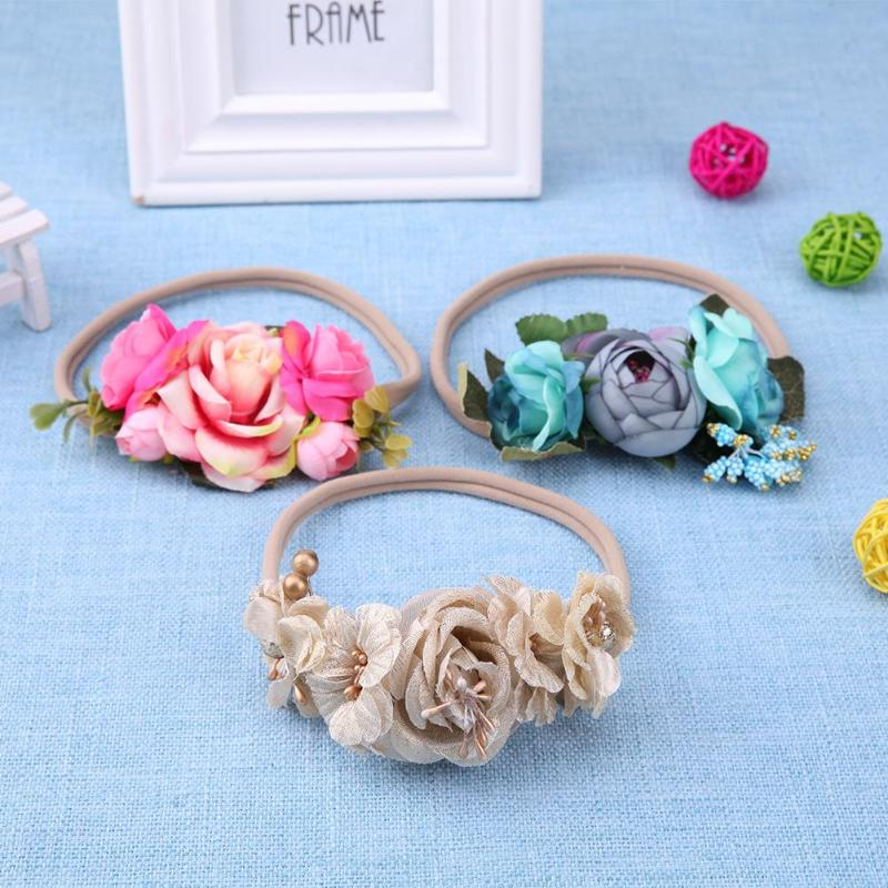 3pcs/Set Elastic Ribbon Flowers Kids Baby Girls Hairband Party Headbands Hair Accessories Baby Girl Accessories Photography Prop