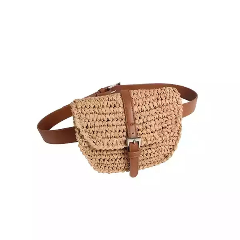 2019 New Women Half Circle Straw Bags Straw Waist Bags Fanny Summer Waist Pack Khaki Colorful Bags Wholesale Dropshipping