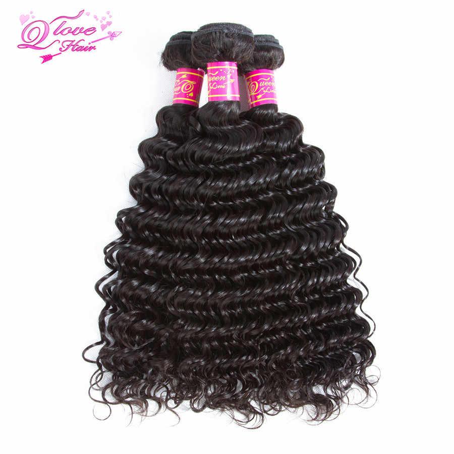 Королева Любовь перуанские прямые волосы переплетение глубокая волна Связки с кружевом Закрытие натуральный цвет 100% не пучки волос Remy с закрытием