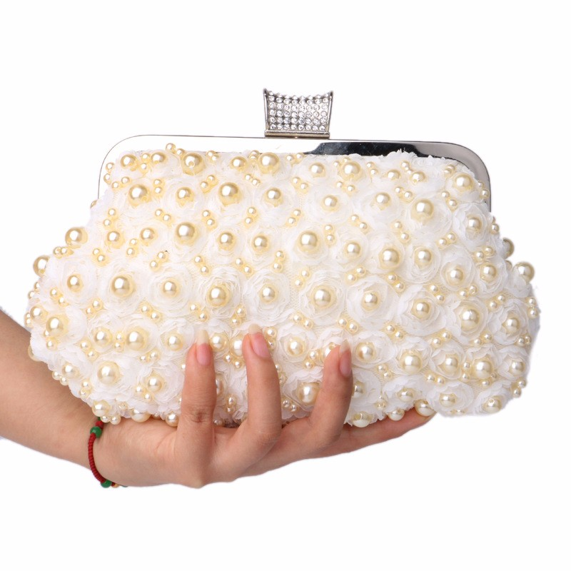 free shipping 2016 women Pearl clutch evening bag lace rose day clutch evening bag banquet bag crystal rings diamond