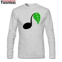 White Long Sleeve Custom Music Note Leaf Shirt Men Creative Plus Size Couple Under Tshirt