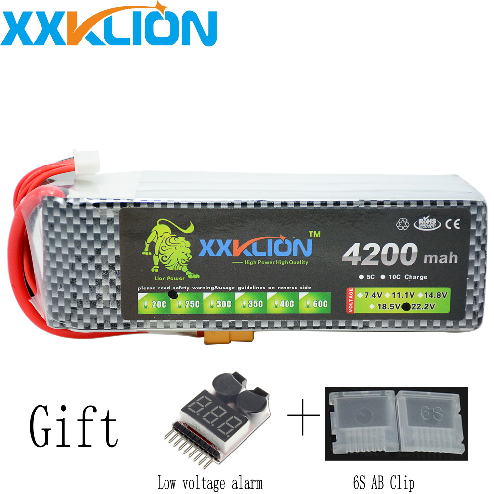 XXKLION RC LiPo battery 6S 22.2V 4200mAh 25C For RC Airplane quadrotor Helicopter Drone Car Boat battery pack Free Shipping xxklion 22 2v 6000mah 35c 6s rc lipo battery for rc airplane quadrotor car boat drone rc boat drone battery pack free shipping