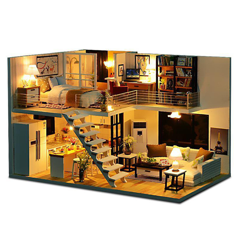 New Doll House Toy Miniature Wooden Doll House Loft With: DIY Wooden Loft Apartments Dollhouse Modern Miniature Home