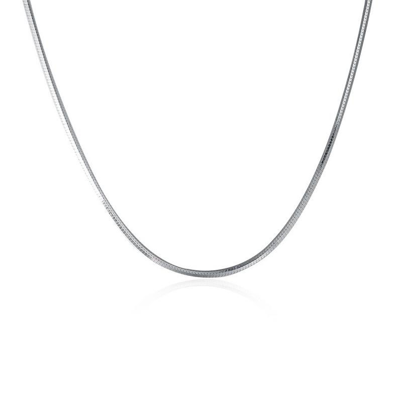 Simple Thin Pole Chain 925 Sterling Siver Necklace