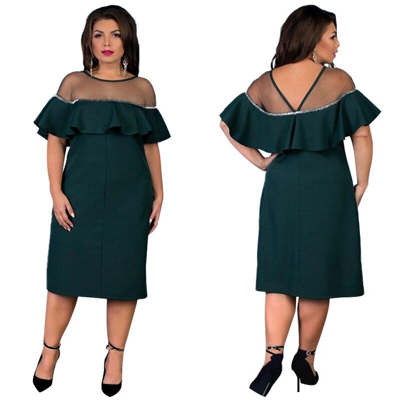 NEW 2019 Plus Size Women Dress A-line Loose Summer Dress Lace Patchwork  Midi Beach bc493bee47e7