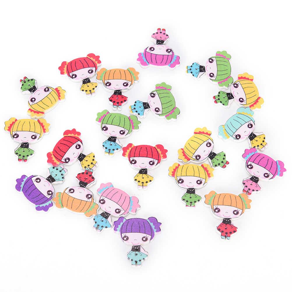 decoraci/ón color al azar 50 botones de madera Dylandy con dibujos animados mezclados 2 agujeros para coser tejer manualidades bricolaje