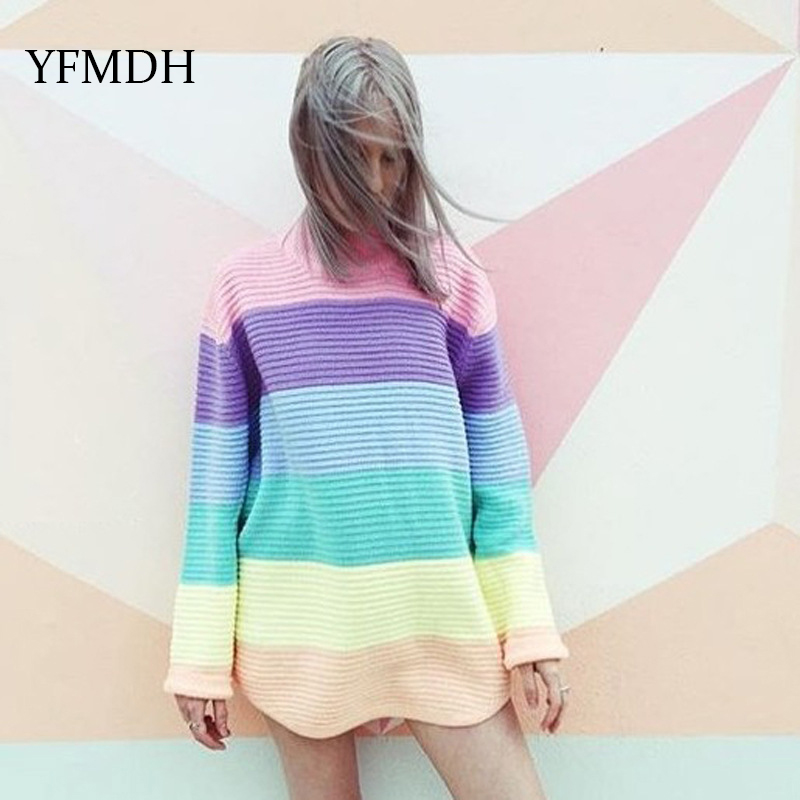 2018 Autumn Winter Women O-neck Knitted Sweaters Candy Color Ice Cream Rainbow Long Sleeve Pullover Casual Pullovers Oversized