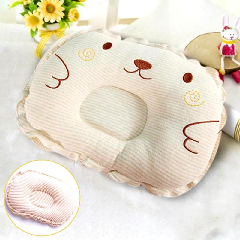 Organic Cotton Baby Pillow Infant Baby Shaping Pillow Preventing Baby Flat Head Cartoon Bear Striped Girl Boy Pillows 2017 XV2