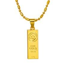 Nueva venta caliente hip hop ORO CONFIAMOS bar colgante joya hombres mujeres cadena de oro lleno de collar N192